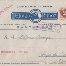 Sellos: SOBRE PUBLICITARIO CON CENSURA MILITAR. SANTANDER 1938 A CANGAS DE ONÍS (ASTURIAS). Lote 40277066