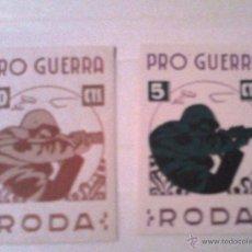 Sellos: VIÑETAS GUERRA CIVIL ``RODA DE TER'' (BARCELONA ), PRO-GUERRA. Lote 40283751