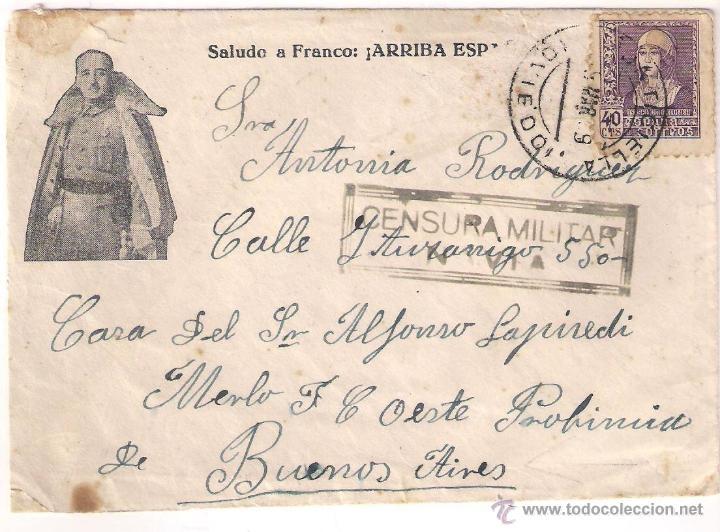 CARTA DE PONTICIELLA OVIEDO A ARGENTINA 1939 SALUDO A FRANCO ARRIBA ESPAÑA CENSURA MILITAR DE NAVIA (Sellos - España - Guerra Civil - De 1.936 a 1.939 - Cartas)