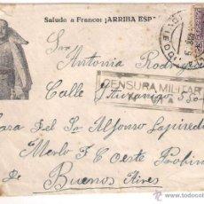 Sellos: CARTA DE PONTICIELLA OVIEDO A ARGENTINA 1939 SALUDO A FRANCO ARRIBA ESPAÑA CENSURA MILITAR DE NAVIA. Lote 40293638