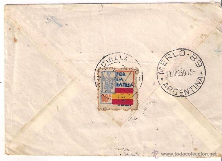 Sellos: CARTA DE PONTICIELLA OVIEDO A ARGENTINA 1939 SALUDO A FRANCO ARRIBA ESPAÑA CENSURA MILITAR DE NAVIA - Foto 2 - 40293638