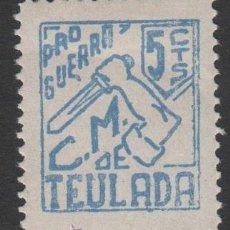 Sellos: F4-11 GUERRA CIVIL - TEULADA - PRO GUERRA - FESOFI Nº 1 - 5 CTS - AZUL. Lote 40307526