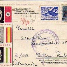 Sellos: GOBIERNO MILITAR GUIPUZCOA, VIÑETA CRUZADA CONTRA EL FRIO, FRANCO HITLER, MUSSOLINI. GUERRA CIVIL.. Lote 40349120