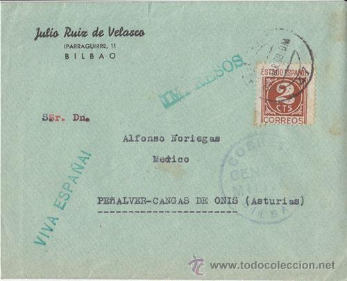 CENSURA MILITAR BILBAO A CANGAS DE ONIS (ASTURIAS) 1938 (Sellos - España - Guerra Civil - De 1.936 a 1.939 - Cartas)