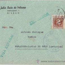 Sellos: CENSURA MILITAR BILBAO A CANGAS DE ONIS (ASTURIAS) 1938. Lote 40352917
