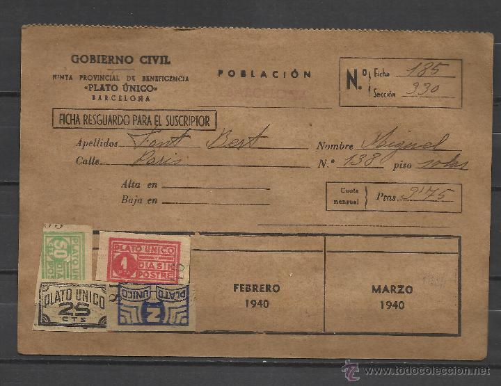B97-CARTILLA CARNET 1940 JUNTA PROVINCIAL BENEFICENCIA PROVINCIAL BARCELONA .PLATO UNICO Y DIA SIN P (Sellos - España - Guerra Civil - Viñetas - Usados)