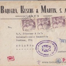 Sellos: CENSURA GUBERNATIVA DE COMUNICACIONES SAN SEBASTIÁN. IRÚN 1943. A AMSTERDAM. Lote 40382975