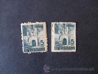 BARCELONA,1938,EDIFIL 19(0) Y 20*,PUERTA GOTICA AYUNTAMIENTO,USADO Y NUEVO CON GOMA Y SEÑAL FIJASELL (Sellos - España - Guerra Civil - Locales - Nuevos)