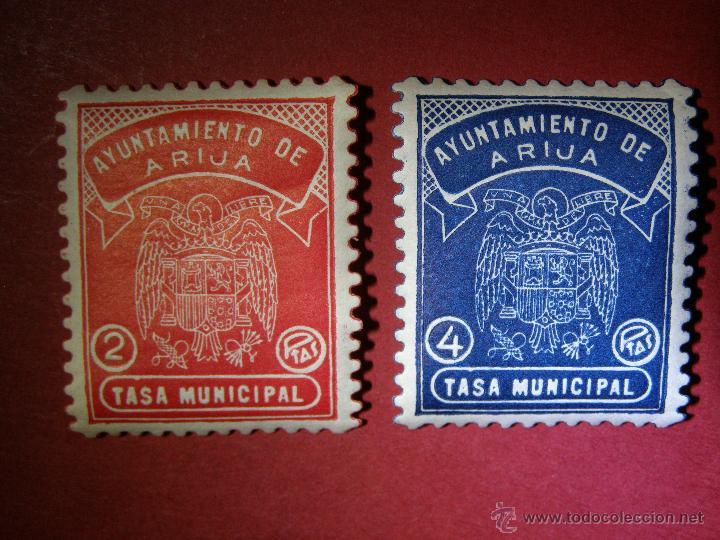 LOTE 2 SELLOS LOCALES - 2 Y 4 PTAS. - AYUNTAMIENTO ARIJA - TASA MUNICIPAL - BURGOS - FISCALES RAROS (Sellos - España - Guerra Civil - Locales - Nuevos)