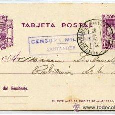 Sellos: ENTEROPOSTAL. CENSURA MILITAR SANTANDER, MATASELLOS SAN VICENTE DE LA BARQUERA 16/03/38 FOURNIER. Lote 40583122
