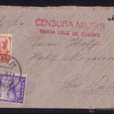 Sellos: ESPAÑA.1937.SOBRE DE TENERIFE (CANARIAS) A LAS PALMAS. 30C. Y LOCAL.MARCA CENSURA STA.CRUZ.MAGNÍFICA. Lote 27530117
