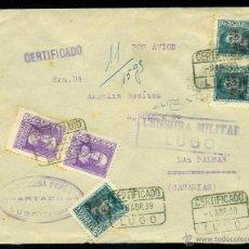 Sellos: *** PRECIOSA CARTA 1939 CON CENSURA MILITAR LUGO. FRANQUEO COMBINADO MAT. CERTIFICADO ***. Lote 40642516