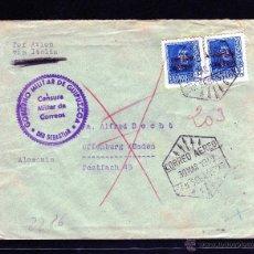 Sellos: CARTA CENSURA GOBIERNO MILITAR DE GUIPUZCOA, CORREO AEREO SAN SEBASTIAN VIA ITALIA A ALEMANIA 1940. Lote 40666393