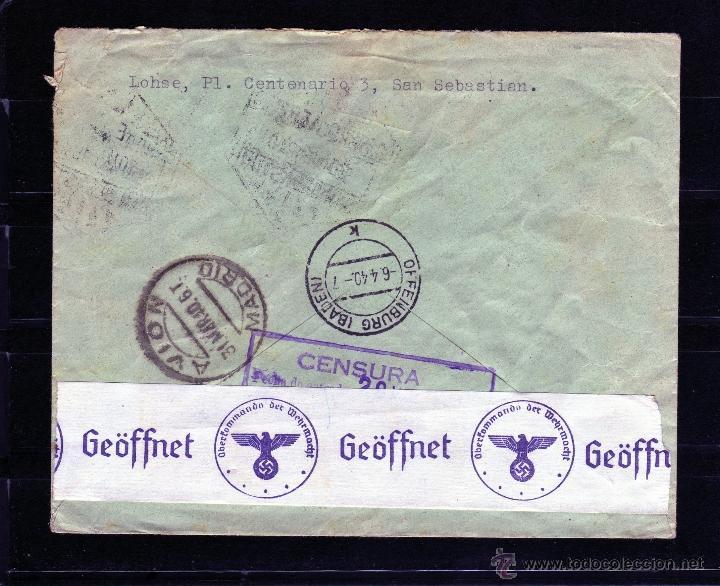 Sellos: CARTA CENSURA GOBIERNO MILITAR DE GUIPUZCOA, CORREO AEREO SAN SEBASTIAN VIA ITALIA A ALEMANIA 1940 - Foto 2 - 40666393