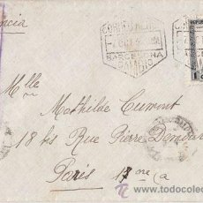 Sellos: SOBRE. CENSURA REPUBLICANA CORREO AEREO BARCELONA CAMBIO. A PARIS. 1938. SELLO 1 PESETA CUENCA. Lote 40679027