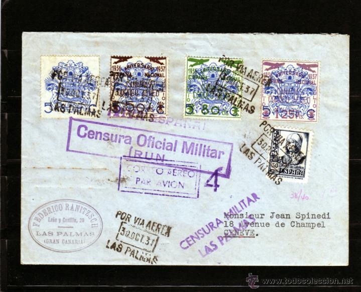GUERRA CIVIL 1937 CARTA CORREO AEREO POR AVION DE LAS PALMAS A GINEBRA, CENSURA OFICIAL MILITAR IRUN (Sellos - España - Guerra Civil - Locales - Cartas)