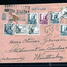 Sellos: GUERRA CIVIL, C.C. CADIZ A ALEMANIA 1938, CENSURA MILITAR, ANVERSO DIPUTACION PROVINCIAL HABERES.. Lote 40749599