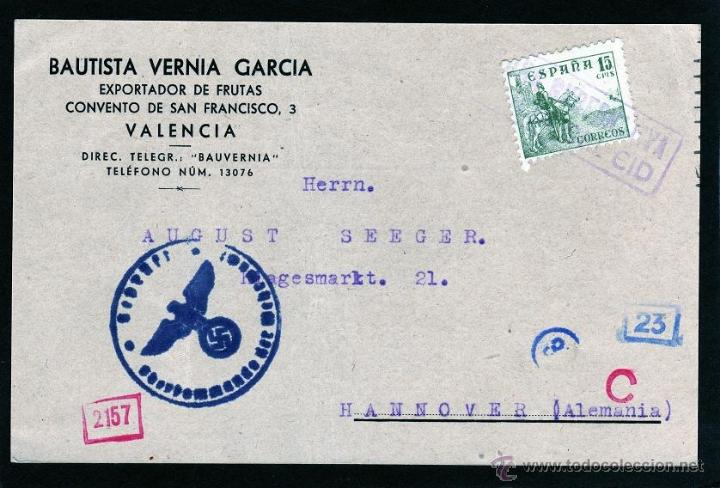 TARJETA POSTAL BAUTISTA VERNIA GARCIA EXPORTADOR DE FRUTAS VALENCIA A ALEMANIA, CENSURA ALEMANA (Sellos - España - Guerra Civil - De 1.936 a 1.939 - Cartas)