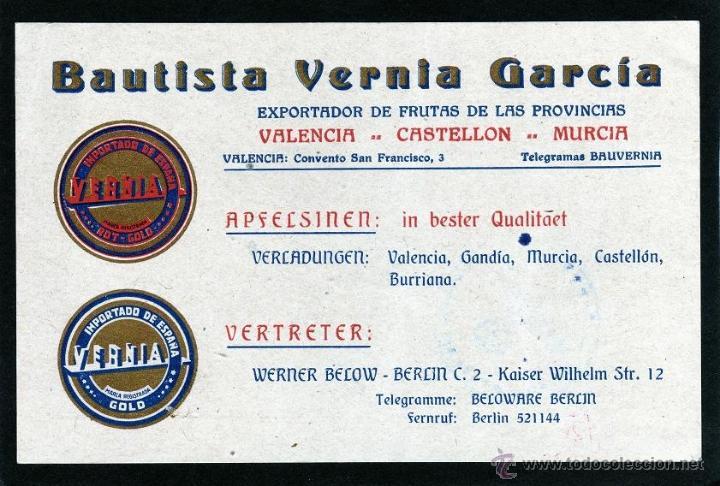 Sellos: TARJETA POSTAL BAUTISTA VERNIA GARCIA EXPORTADOR DE FRUTAS VALENCIA A ALEMANIA, CENSURA ALEMANA - Foto 2 - 40788441