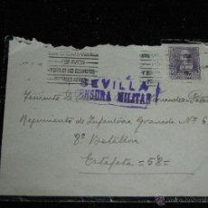 Sellos: SOBRE CIRCULADO DIRIGIDO AL REGIMIENTO DE INFANTERIA DE GRANADA CON CENSURA MILITAR DE SEVILLA. Lote 40813356