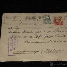 Sellos: SOBRE CIRCULADO DIRIGIDO A LA COMANDANCIA MILITAR DE CASABERMEJA - SELLO LOCAL Y CENSURA DE SEVILLA. Lote 40813444