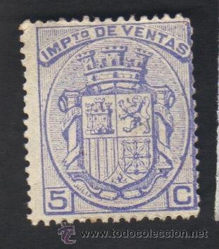 SIN USAR, NUEVO, CON GOMA, IMPUESTO DE VENTA, 5 CENTIMOS (Sellos - España - Guerra Civil - Viñetas - Nuevos)