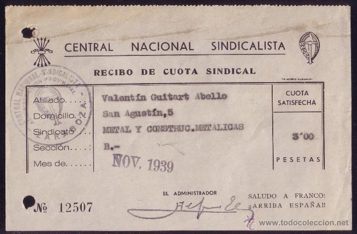 ESPAÑA. 1939. DOCUMENTO CON LA MARCA * CENTRAL NACIONAL SINDICALISTA * DE ZARAGOZA. MUY BONITO. (Sellos - España - Guerra Civil - De 1.936 a 1.939 - Cartas)