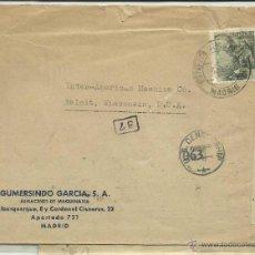 Sellos: CIRCULADA 1944 CON CENSURA GUVERNATIVA DE MADRID A WISCONSIN RODILLO FRANCO FRANCO FRANCO . Lote 40924832