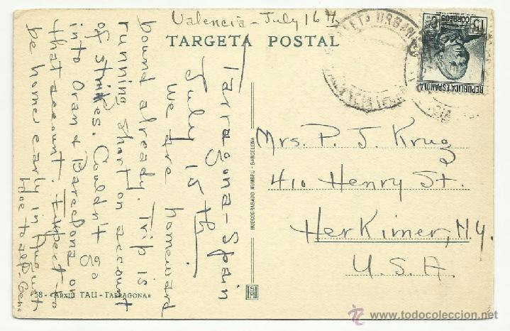 Sellos: circulada 1936 castillo tamarit tarragona de valencia a usa - Foto 2 - 40925436