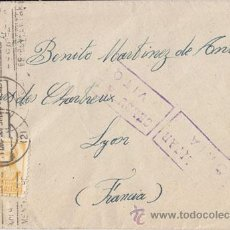 Sellos: SOBRE CIRCULADO DE VITORIA A LYON 1936. CENSURA. SELLO 60 CTS ISABEL LA CATOLICA.. Lote 41005790