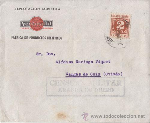 SOBRE CIRCULADO DE ARANDA DE DUERO (BURGOS) A CANGAS DE ONÍS CENSURA MILITAR. 1938. 2 CTS. IMPRESOS. (Sellos - España - Guerra Civil - De 1.936 a 1.939 - Cartas)