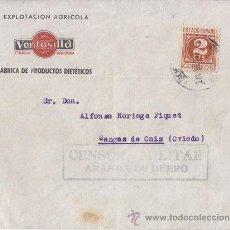 Sellos: SOBRE CIRCULADO DE ARANDA DE DUERO (BURGOS) A CANGAS DE ONÍS CENSURA MILITAR. 1938. 2 CTS. IMPRESOS.. Lote 41005833