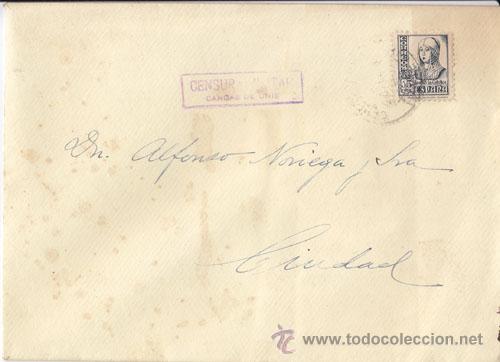 SOBRE CIRCULADO DENTRO DE CANGAS DE ONÍS (ASTURIAS) CENSURA MILITAR.SELLO 15 CTS ISABEL LA CATOLICA. (Sellos - España - Guerra Civil - De 1.936 a 1.939 - Cartas)