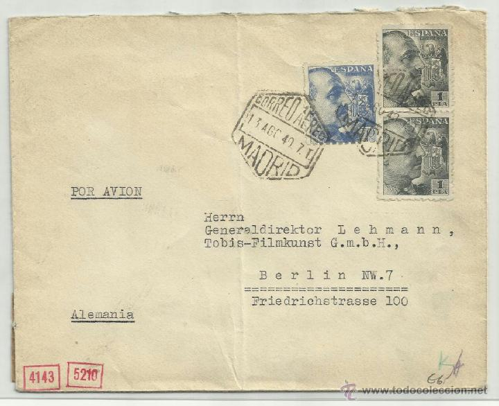 Sellos: circulado 1940 de alcala madrid a berlin con censura - Foto 2 - 41011085
