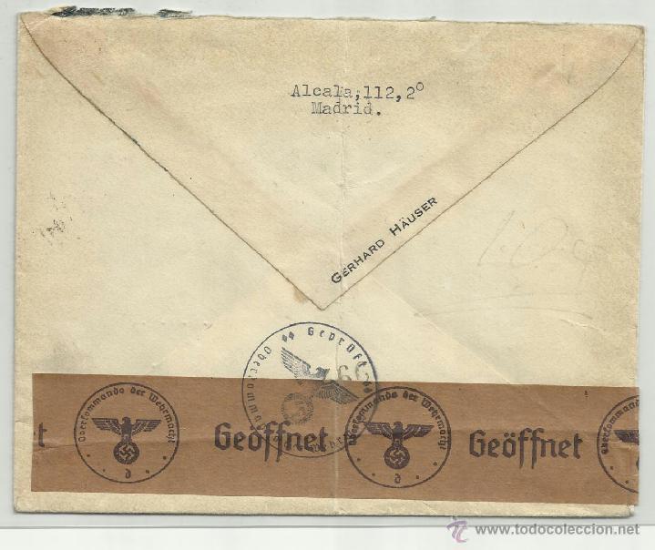 Sellos: circulado 1940 de alcala madrid a berlin con censura - Foto 3 - 41011085