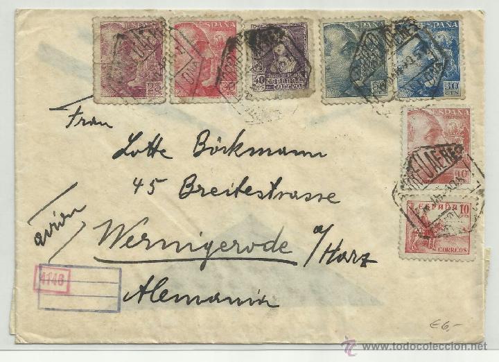CIRCULADA 1940 DE BARCELONA A ALEMANIA CON CENSURA MILITAR CORREO (Sellos - España - Guerra Civil - De 1.936 a 1.939 - Cartas)