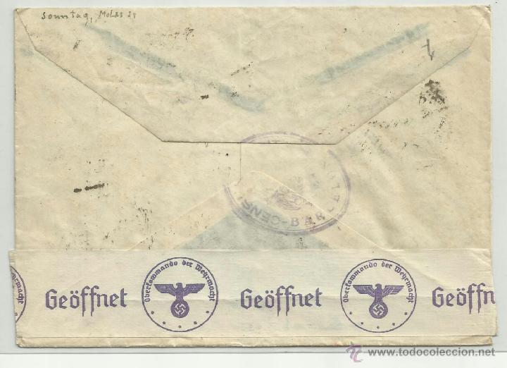 Sellos: circulada 1940 de barcelona a alemania con censura militar correo - Foto 2 - 41037783