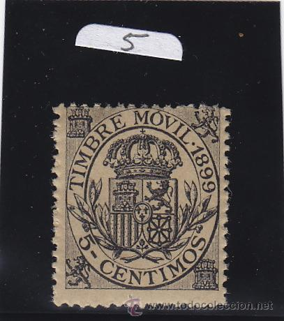 FISCAL 101 TIMBRE MOVIL 1899 CATALOGO GALVEZ NUEVO SIN CHARNELA 5 CTS. NEGRO (Sellos - España - Guerra Civil - De 1.936 a 1.939 - Nuevos)