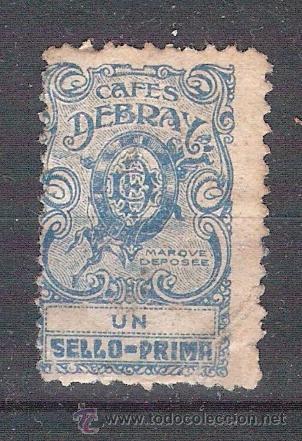 SELLO/VIÑETA. CAFÉS DEBRAY. MUY RARO. ÚNICO EN TC. (Sellos - España - Guerra Civil - Viñetas - Usados)