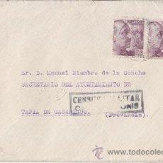 Sellos: SOBRE DE CANGAS DE ONÍS (ASTURIAS) A TAPIA. CENSURA MILITAR. AL DORSO LOCAL. 1941. Lote 41201465
