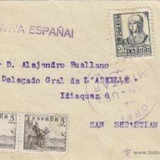 Sellos: CARTA CON MARCA VIVA ESPAÑA Y CENSURA MILITAR VIZCAYA . Lote 41219394