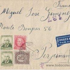 Sellos: SOBRE CIRCULADO DE BARCELONA A FRANCIA. MAGNÍFICO FRANQUEO. CORREO AÉREO CENSURA REPUBLICANA. 1939. Lote 41227686