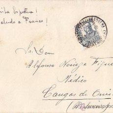Sellos: SOBRE CIRCULADO CON SELLO DE 15 CTS. ISABEL LA CATÓLICA SAN VICENTE DE LA BARQUERA (CANTABRIA) 1938. Lote 41414335