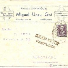 Sellos: CENSURA MILITAR DE PAMPLONA. ALMACENES SAN MIGUEL. Lote 41479270
