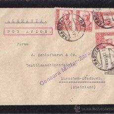 Sellos: SOBRE DE ZARAGOZA A ALEMANIA. CENSURA MILITAR. AMBULANTE CERTIFICADO ZARAGOZA BILBAO. 1937. Lote 41519011