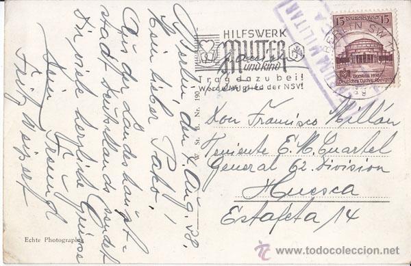 POSTAL CIRCULADA DE ALEMANIA A UN TENIENTE DE HUESCA. 1938. CENSURA MILITAR (Sellos - España - Guerra Civil - De 1.936 a 1.939 - Cartas)