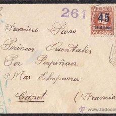 Sellos: SOBRE. 1938. DE MANRESA (BARCELONA) A FRANCIA. RARO FRANQUEO. CORREO AÉREO. CENSURA REPUBLICANA. Lote 41705099
