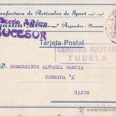 Sellos: TARJETA ARTICULOS DE SPORT. ARGEDAS NAVARRA. 1939. CENSURA MILITAR TUDELA. A GIJÓN (ASTURIAS). Lote 41705185