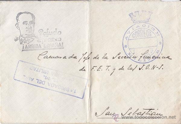 SOBRE FRANQUICIA AVIACIÓN CORREOS . 1ERA BRIGADA DEL AIRE CENSURA. A SAN SEBASTIÁN (Sellos - España - Guerra Civil - De 1.936 a 1.939 - Cartas)