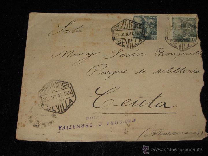 CARTA CORREO AEREO SEVILLA CEUTA - CENSURA GUBERNATIVA - TETUAN - CEUTA - RARA (Sellos - España - Guerra Civil - De 1.936 a 1.939 - Cartas)